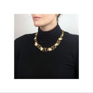Vintage Black, Pearl, Gold Tone Statement Necklace